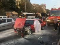 TRAFİK YOĞUNLUĞU - İstanbul'da  E-5 Karayolunda Otomobil Yangını