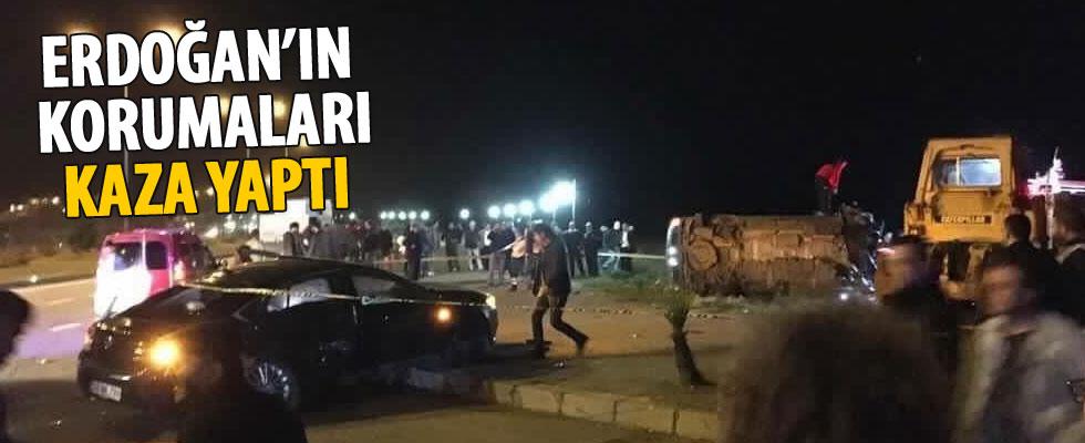 Cumhurbaşkanı Erdoğan'ın koruma ekibi kaza yaptı