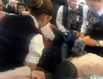 OKSİJEN TÜPÜ - Uçakta rahatsızlanan yolcuya kabin ekibi müdahale etti