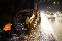 TRAFİK YOĞUNLUĞU - Fatih Sultan Mehmet Köprüsü Çıkışında Araç Yangını