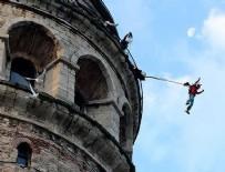 GALATA KULESI - Ekstrem sporcu Koçak Galata Kulesi'den 'atladı'