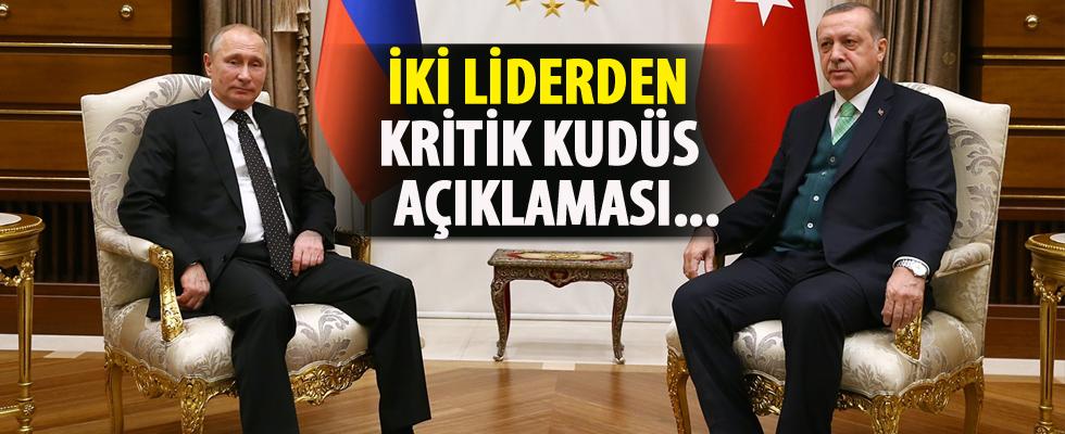Erdoğan - Putin ortak basın toplantısında kritik Kudüs açıklaması