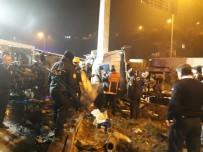 112 ACİL SERVİS - Başkent'te freni boşalan alçı yüklü tır devrildi: 1 ölü