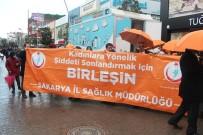 SAĞLIK ÇALIŞANLARI - Kadına Şiddete Dikkat Çekmek İçin Turuncu Şemsiyelerle Yürüdüler