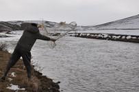 BALIK TUTMAK - Kars Çayı'nın Buzları Çözüldü, Vatandaşlar Balık Tuttu