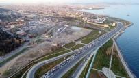 Kapatılan Sahil Yolunda Oluşan Trafik Havadan Görüntülendi