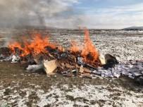 Aksaray'da 250 Bin Paket Kaçak Sigara Yakılarak İmha Edildi