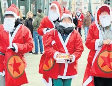 Noel baba kılığında PKK propagandası