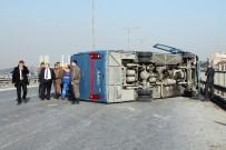 JANDARMA ERİ - Tem Otoyolunda Cezaevi Aracı Devrildi