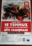 ŞİİR KİTABI - Sultanbeyli Erzurumlular Derneği'nden  '15 Temmuz' Konulu Şiir Yarışması