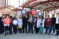 TEPECIK EĞITIM VE ARAŞTıRMA HASTANESI - Sağlıkçılar Şiddeti Protesto Etti