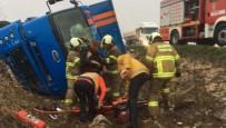 Kargo Kamyonu Kaza Yaptı  Açıklaması 1 Yaralı