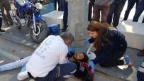 MOTOSİKLET SÜRÜCÜSÜ - Motosiklet Sürücüsünü Başındaki Kask Kurtardı