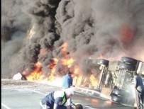 Devrilen tanker alev alev yandı!