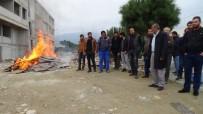 Parasını Alamadığını İddia Eden İşçiler Ateş Yakarak Eylem Yaptı