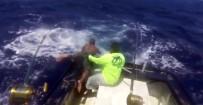 ORKİNOS - Dev Balık Balıkçıyı Böyle Sürükledi