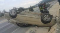 Milas'ta Devrilen Otomobilde Yaralandı
