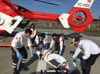 AMBULANS HELİKOPTER - Göçük Altında Kalan İşçi, Ambulans Helikopter İle Hastaneye Kaldırıldı