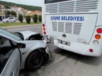 İÇKİ ŞİŞESİ - Öğrencileri Bekleyen Otobüse Otomobil Arkadan Çarptı Açıklaması 3 Yaralı