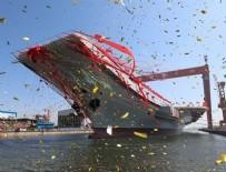 ÇİN DENİZİ - Çin'in ilk yerli yapım uçak gemisi suya indirildi