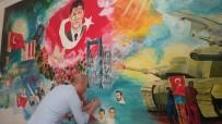Ömer Halisdemir'in Portresini Okul Duvarına Resmetti
