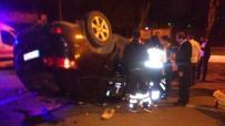 TRAFİK ÖNLEMİ - Başkent'te Kontrolden Çıkan Otomobil Takla Attı Açıklaması 2 Yaralı