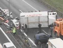 TRAFİK YOĞUNLUĞU - TEM'de kaza nedeniyle trafik yoğunluğu