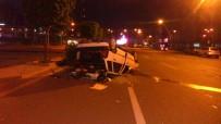 TRAFİK ÖNLEMİ - Başkent'te Kontrolden Çıkan Otomobil Takla Attı Açıklaması 1 Yaralı