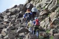MAHSUR KALDI - AFAD, Kayalıklarda Mahsur Kalan Keçileri Halatlarla Kurtardı