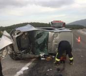 Kontrolden Çıkan Araç Takla Atarak Karşı Şeride Geçti Açıklaması 1 Ölü, 1 Yaralı