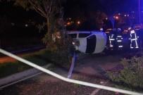 ELEKTRİK DİREĞİ - Refüje Çıkan Otomobil Direği Devirdi Açıklaması 4 Yaralı