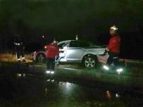 Yoldan Çıkan Otomobil Elektrik Direğine Çarparak Durdu