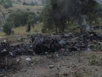 YÜKSEK GERİLİM HATTI - Helikopterin enkazı böyle görüntülendi