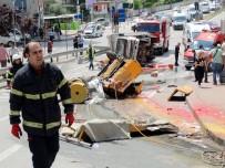 KİMYASAL MADDELER - Freni Patlayan Kamyonet Dehşet Saçtı Açıklaması 4 Yaralı