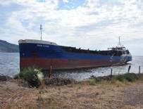 ÇANAKKALE BOĞAZı - Kuru yük gemisi plajda karaya oturdu
