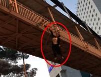 İPEKYOLU - Şanlıurfa'da dehşete düşüren görüntü! Genç kız, üst geçitten atlamak istedi