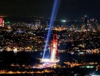 15 TEMMUZ DARBESİ - Şehitler için gökyüzüne yansıtılan ışık havadan görüntülendi