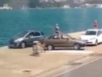 KIYI EMNİYETİ - Tarabya'da otomobil denize düştü