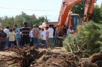AHMET ERDOĞDU - Çam Ağaçlarının Kepçelerle Sökülmesine Köylüler Tepki Gösterdi