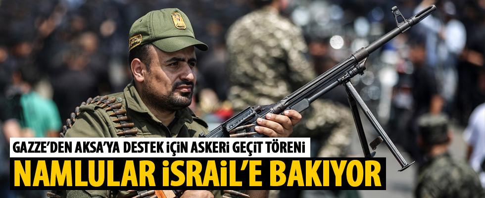Gazze'den Aksa'ya destek için askeri geçit töreni