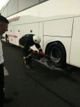 ULUPıNAR - Seyir Halindeki Otobüsün Tekeri Yandı
