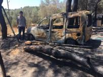 AVSALLAR - Elektrik Tellerinden Çıkan Yangın Aracı Küle Çevirdi