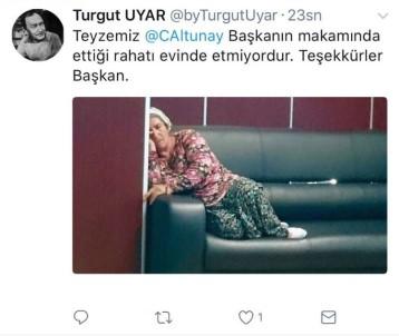 Başkanın makamında çekilen fotoğraf sosyal medyada gündem oldu