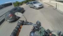 MOTOSİKLET KAZASI - Nişanlı çiftin motosiklet kazası kask kamerasında