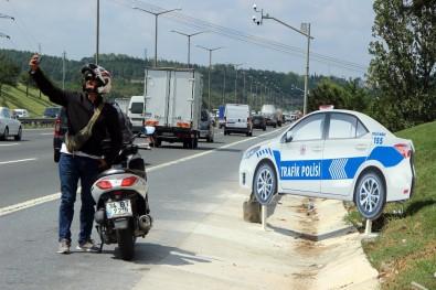 TEM Otoyolu'nda sürücüleri şaşkına döndüren manzara