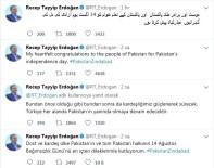 PAKISTAN - Erdoğan, Pakistan'ın bağımsızlık gününü üç dile kutladı