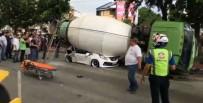 Beton Mikseri Otomobilin Üzerine Devrildi Açıklaması 1 Ölü, 3 Yaralı