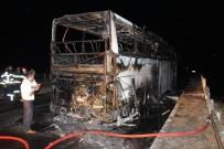 Amasya'da Yolcu Otobüsü Yandı