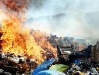 YANGıN YERI - Bodrum'da katı atık depolama alanında yangın çıktı
