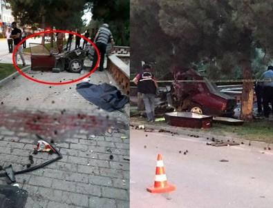 Eskişehir'de feci kaza: Araç ikiye bölündü